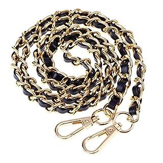 BESTOYARD Handtaschen Metall Ketten Handtasche Kette Schultertaschen Riemen Ersatz Zubehör mit Schnallen (Gold Schwarz)