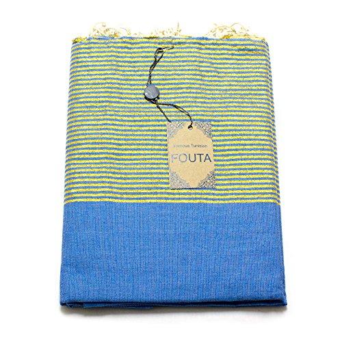 Luxus Fouta Hamam-Tuch mit Goldfäden (Lurex) 197 x 100cm XXL Extra Groß Pestemal aus 100% Baumwolle für Sauna, Bad, Strand-Tuch Bade-Tuch ... (Blau) (Damen-frottee-liege)