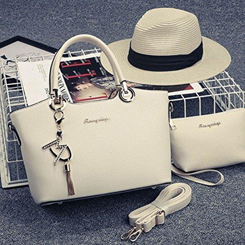 Borse spalla borsa di modo signore sacchetti messaggero donne 2 Pezzi Nero Beige