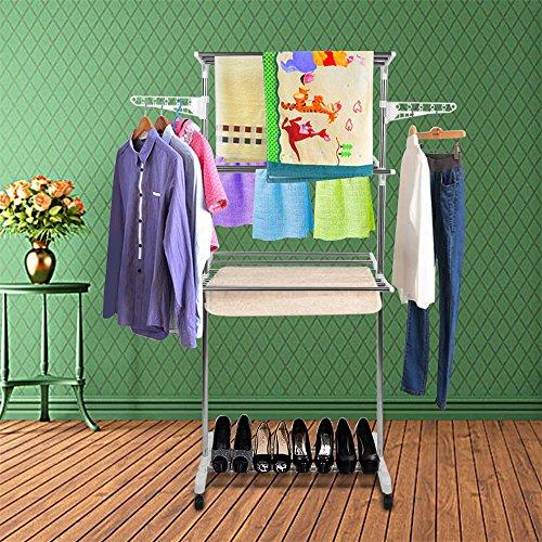 Turm Seitenflügel,Wäscheständer,Extra Large 3 Tier, Wäschetrockner, Edelstahl, für Einfache Lagerung