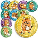 10 witzige Katzen Magnete für den Kühlschrank, Magnettafel oder Whiteboard, 38mm Durchmesser, Button Magnete mit Matter Beschichtung