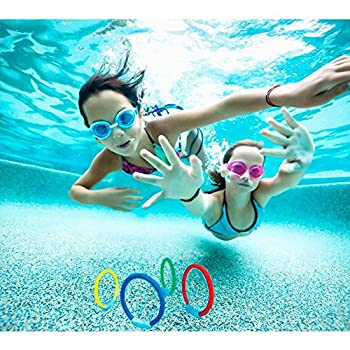 Wotow Dive Rings, 4 Piece Plastic Diving Rings Underwater Swimming Toy Rings Dive Training Gift For Boy Girl Students Recreation Play Summer Pool Toy Assorted Colors Dive Rings Kids Pool Water Game (4 Pcs) 2