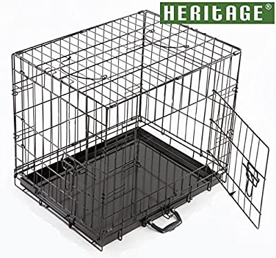 "Heritage 24"" Dog Puppy Cage Folding 2 Door Crate with Non-chew Metal, Tray, Small, 24-inch, Black"