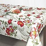 """Zauberhafte Outdoor - Lotus - Effekt - Tischdecke """" FLOWERS ALL OVER """" in weiss mit wunderschönen Blumen - Größe 120x160 - mit Fleckschutz - wasserabweisend und abwaschbar - Flüssigkeiten perlen einfach ab - die perfekte Tischdecke für drinnen und draußen - es sind weitere Tischdecken im gleichen Design in anderen Größen erhältlich - aus dem KAMACA-SHOP - ideal als Gartentischdecke"""