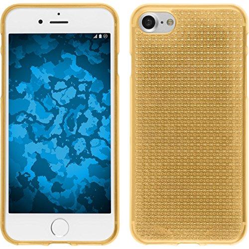 PhoneNatic Case für Apple iPhone 8 Hülle Silikon clear Iced Cover iPhone 8 Tasche + 2 Schutzfolien Gold