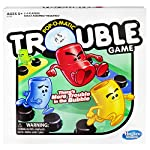 Trouble game is peg-popping fun, Pop-O-Matic die roller rolls the die, Move your pegs around the board, Send other players' pegs home when you land on the same space, Double Trouble and Warp spaces change up the game