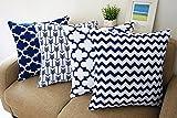 YouLoveHome Fundas de cojín cuadradas decorativas de lino y algodón duraderas, 45 x 45 cm, 4 unidades, Blue-02, 45*45cm