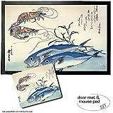 Set: 1 Fußmatte Türmatte (60x40 cm) + 1 Mauspad (23x19 cm) - Utagawa Hiroshige, Makrelen und Garnelen, 1834-35