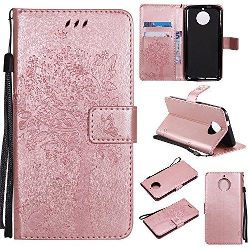 Ooboom® iPhone X Coque Motif Arbre Chat PU Cuir Flip Housse Étui Cover Case Wallet Portefeuille Support avec Porte-cartes pour iPhone X - Bleu Or Rose