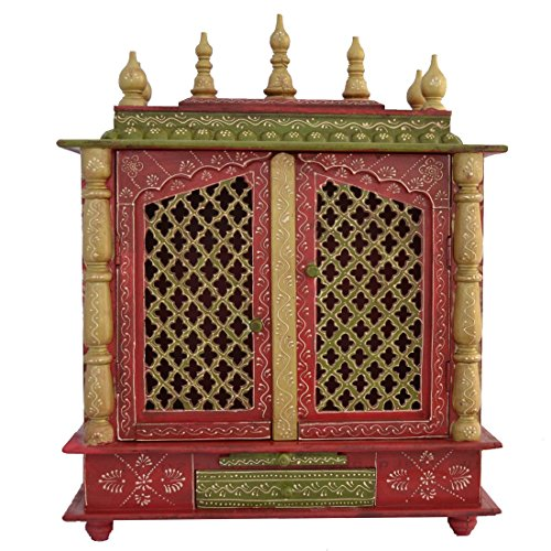 Buy Home Temple/ Wooden Temple/ Pooja Mandir/ Mandap/ Temple For Home With  LED BULB INSIDE FREE POOJA THALI, GOD PHOTO FRAME Online At Low Prices In  India ...