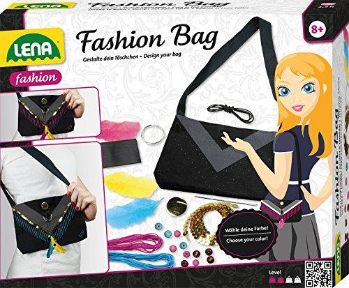 Lena 42584 - Fashion und Bastelset Bag, Komplettset zum Handtäschchen selbst gestalten mit schwarzer Tasche, Nadel, 2 Garne, Federn, Pailletten und Aufkleber, Mode Styling Set für Kinder ab 8 Jahre