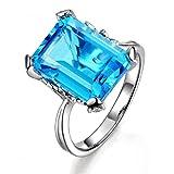 Uloveido da Donna con Taglio Quadrato Grande Oceano Blu Cubic Zirconia Halo Anello di Nozze Placcato in Oro Bianco - Belle Id