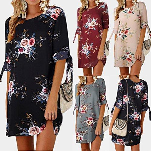 Clearance! Toamen Womens Fashion Floral Print Mini Dress - Bowknot Sleeves - Chiffon - Casual Evening Party Beach Dresses Sundress Princess Dress