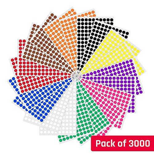 1cm etichette autoadesive bollini colorati rotonde cerchio - 10 colori, 3000 pezzi