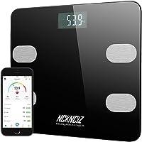 Pèse Personne Impédancemètre, Balance Connecté Bluetooth Électronique, Balance Corporelle Intelligente Mesure Poids Graisse Masse Musculaire Osseuse Eau, pour IOS Android