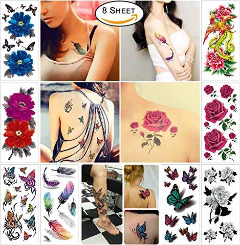 COKOHAPPY Temporäre Tattoo 8 Verschiedene Blätter Rose Pfingstrose Blume Phoenix 3D Feder Schmetterling ( Ein Satz ) für - Einfache Halloween-kostüme Und Für Jugendliche Niedliche
