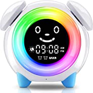 Alarm Clock for Kids, Sleep Training Clock with 7 Colors Night Light, 6 Alarm Rings, NAP Timer, Teach Children Time to Wake