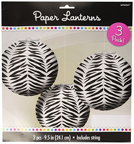 Zebra Round Paper Lanterns x 3