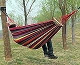 WLHW Hamaca con Palos de Madera Jardín al Aire Libre Lienzo Ocio Hamaca Que Lleva 200kg/260x150cm Hamaca Doble