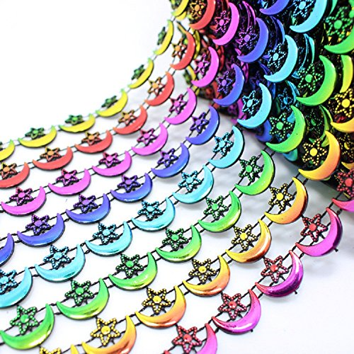 bysn 9,8 Meter 8 Reihen Colorful Mond Stern Form Strass Applikation Pailletten Kette Kostüm Hochzeit Party Home DIY (Pailletten Strass Et Kostüme)