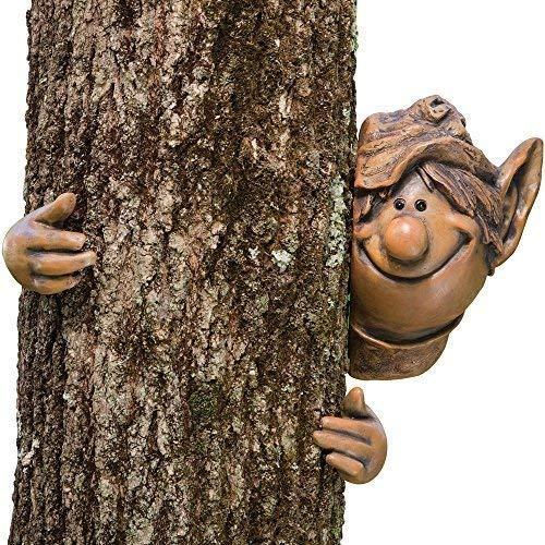 Juego de puntas y piezas-Escultura de Garden peeker Elf Tree Hugger Árbol...