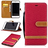 iphone 7 PLUS Case, COZY HUT [Wallet Case] Premium PU Leather Wallet Embedded Flip Magnetic Detachable Close Lock with [Cowboy -Pattern] and [Credit Card Holder Slots] Smart Standing Folio Book Style Type Stylish Ultra Slim Fit Protective Folder Case Cover Skin for iphone 7 PLUS - Red cowboy