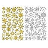 Deggodech DIY Weihnachten Wand Tattoo Wanddeko Abnehmbare Weiß Weihnachtsbaum Wandaufkleber mit Elch für Weihnachts Fenster Sticker Dekoration (Gold & Silber)