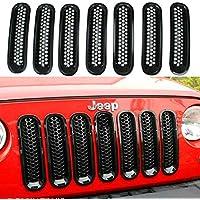 shizak 7pcs Griglia Anteriore Griglia inserto per Jeep Wrangler Rubicon Sahara Jk 2007–2015Nero