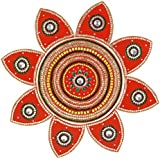 Wooden Rangoli Decoration,Home Decor (55 Cm X 1 Cm X 55 Cm, Red, Pack Of 9)