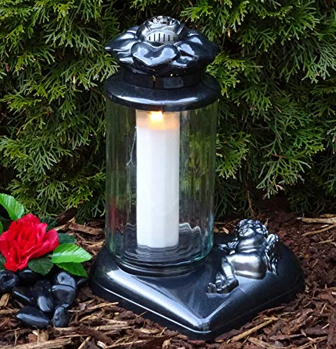 ♥ Grablaterne Grablampe mit Herz Sockel Rose und Engel 36,0cm Schwarz Silber incl.Grabkerze Grablaterne Grableuchte Grablicht Laterne Kerze Licht Lampe Schutzengel Herz Trauer