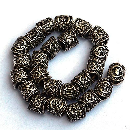 Viking Rune Beards DIY für Perlen Hair Braids Anhänger & Armbänder & Ring Set (24) Gold und Silberfarbe Optional,Gold -