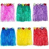 Blulu 6 Pièces Multicolore Hawaïenne Jupe Hula Herbe de Faux Fleurs Robe pour Fête Costumée, Anniversaires, Fête