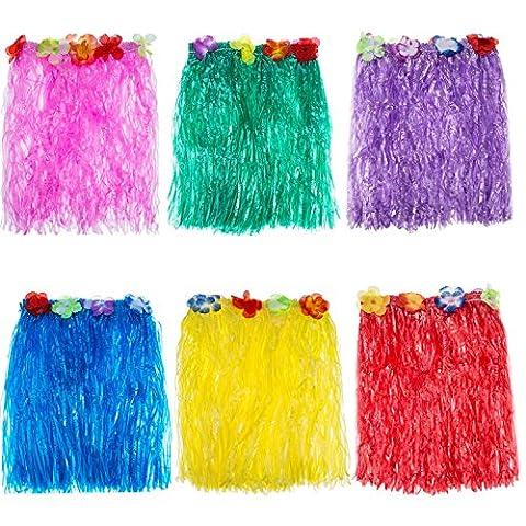 Blulu 6 Stück Mehrfarbig Hawaiian Seide Falsch Blumen Hula Gras Rock für Kostüm Party, Geburtstag, Feier