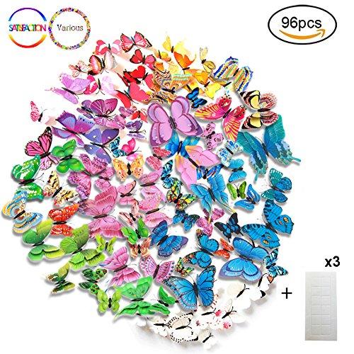 Farfalla adesivo da parete magneti frigo farfalla pvc 3d decorazione farfalla per bagno camere da letto cucina theme party multicolor (96 pcs)