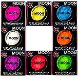 Moon Glow -Tiza para cabello UV de neón3.5gSet de 8 colores -produce un brillo increíble bajo la iluminación/retroiluminación UV!