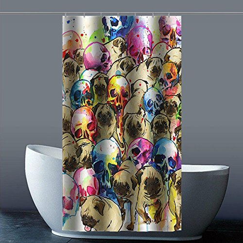 Brauch Pug 100% Polyester Fabrik Duschvorhang Shower Curtain 90 Zentimeters x 183 Zentimeters