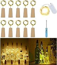 11x Lichterkette mit Batterie Wasserdicht IP65 Flaschenlicht Led Korken Lampe aus Flaschen Hochzeit Deko Licht Bottle Light 75CM, Warmweiß Oktoberfest Weihnachtsbeleuchtung