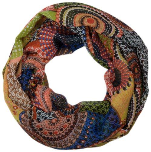 styleBREAKER Ethno Punkte African Style Loop Schlauchschal 01016014 (Orange-Grün)