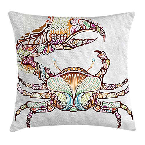 Modern Throw Pillow Cushion Cover, Embellished Crab Fish with Ethnic Ornate Lines Ocean Animal Cancer Illustration, Decorative Square Accent Pillow Case, 18 X 18 Inches, Multicolor (Girls Embellished Dress)