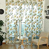 Window Curtain Flower Sheer Pattern Voile Valances Yellow 100x200cm