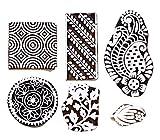 Hashcart Holzprägestempel für Blockdruck, handgeschnitzte Druckmuster für Stoffränder, Henna- und Textildruck, Scrapbooking, Töpferhandwerk und Wandverzierungen, braun, Set # 1084