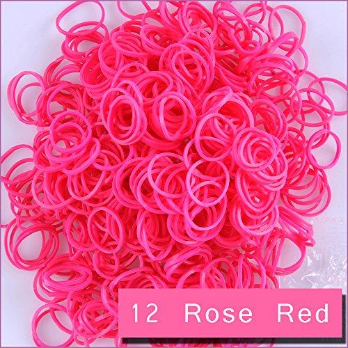 kirinstores (TM) 6000PCS 240Clips Bands Nachfüller für Loom Regenbogen Armband Kleid Making Hautton, Rose Rot (Loom Bands 6000)