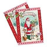 Set di motivi ornamentali biglietti di Natale con Babbo Natale e renne