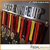 Medallero de Never Give Up, para pared, soporte para exposición de medallas, 600mm x 100mm x 3mm