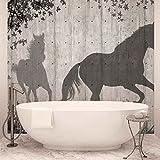 Pferde Baum Blättern Wand - Forwall - Fototapete - Tapete - Fotomural - Mural Wandbild - (3150WM) - PANORAMIC - 250cm x 104cm - VLIES (EasyInstall) - 1 Piece