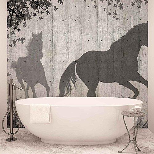 Pferde Baum Blättern Wand - Forwall - Fototapete - Tapete - Fotomural - Mural Wandbild - (3150WM) - XXL - 312cm x 219cm - VLIES (EasyInstall) - 3 Pieces -
