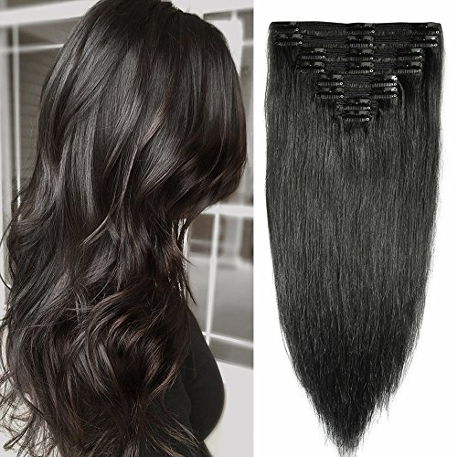 45cm extension clip capelli veri doppia tessitura double volume lunga 18