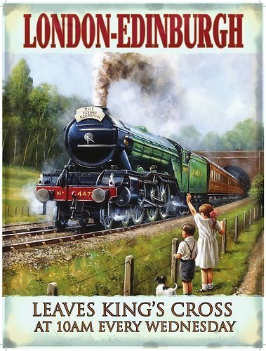 NO.1 COFFEE & TEA PRODUCTS LONDON – EDINBURGH. THE FLYING SCOTSMAN TRAIN PORTRAIT. COMING OUT A TUNNEL BY CHILDREN IN A FIELD. STEAM LOCOMOTION ENGINE. EARLY 20TH CENTURY. KING'S CROSS 10AM. SMALL METAL/STEEL WALL SIGN BEST BUY REVIEWS UK