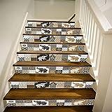 LLL LT002 3D DIY Treppenhaus Aufkleber Abnehmbar Wasserdicht Retro marokkanischen Stil Tierischer Elefant Treppe Wandgemälde 39,3