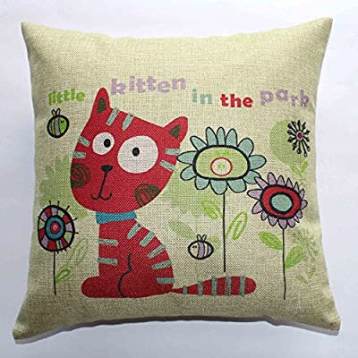 PinnLife body pillow covers target,Cotton Linen 18X18inch,cat and flowers - cheap UK cushion shop.